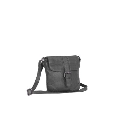 Leather Shoulder Bag Anthracite Daisy