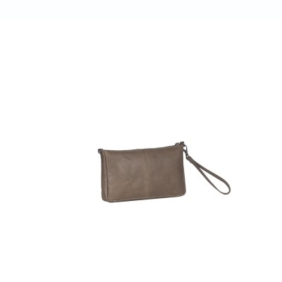 Leather Clutch Taupe Sonia