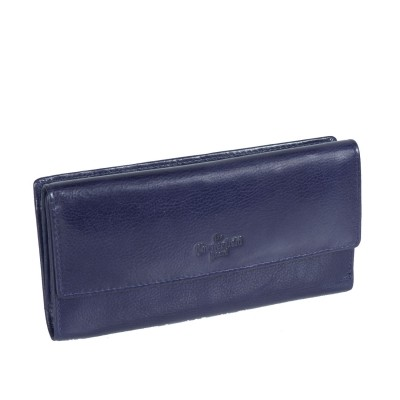Leather Wallet Navy Thea