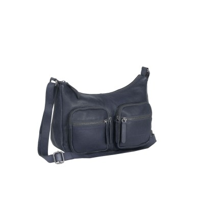Leather Shoulder Bag Navy Victoria