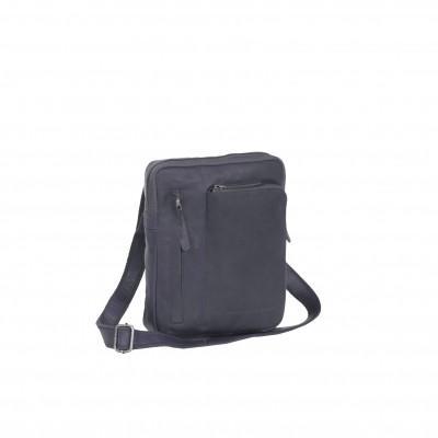 Leather Shoulder Bag Navy Edward