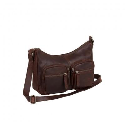 Leather Shoulder Bag Brown Victoria