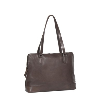 Leather Shoulder Bag Brown Flint