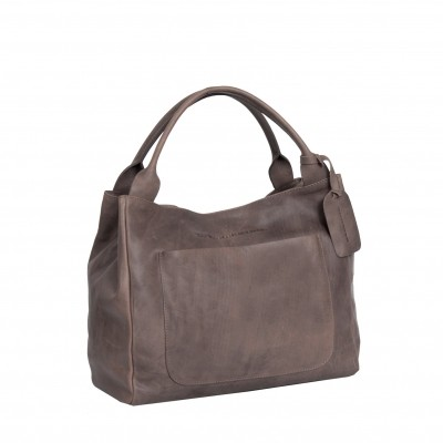 Leather Handbag Taupe Cardiff
