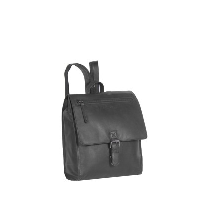 Leather Backpack Black Isa