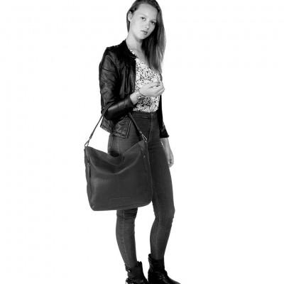 Foto von Leder Shopper Schwarz Lina