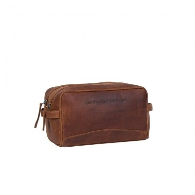 Leather Toiletry Bag Cognac Stefan