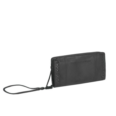 Leder Clutch Black Label Anthrazit Laiza