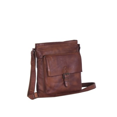 Leather Shoulder Bag Black Label Sasha Cognac
