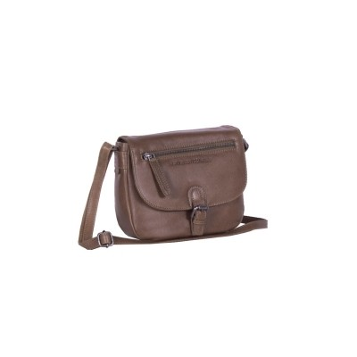 Leather Shoulder Bag Taupe Fay