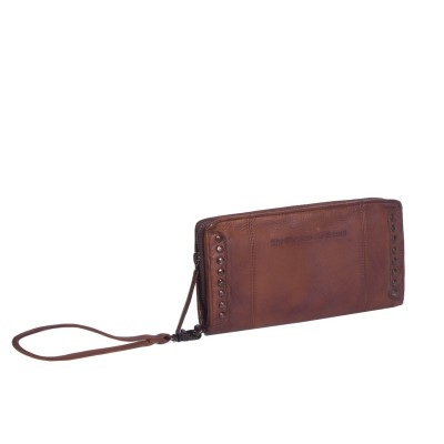 Leather Clutch Black Label Cognac Laiza