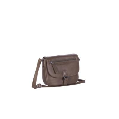 Leather Shoulder Bag Taupe Faja