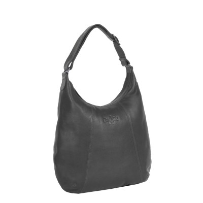 Leather Shoulder Bag Black Floor