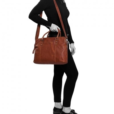 Photo of Leather Laptop Bag Cognac Stephanie