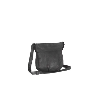 Leather Shoulder Bag Black Label Anthracite Cindy