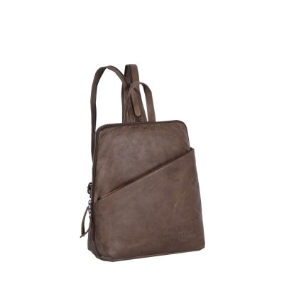 Leather Backpack Taupe Claire