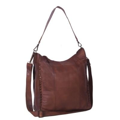 Leather Shoulder Bag Black Label Cognac Larin