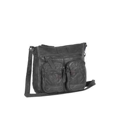 Leather Shoulder Bag Anthracite Luna