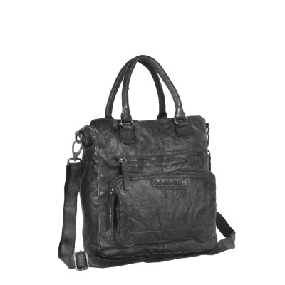 Leather Shopper Bag Black Romy