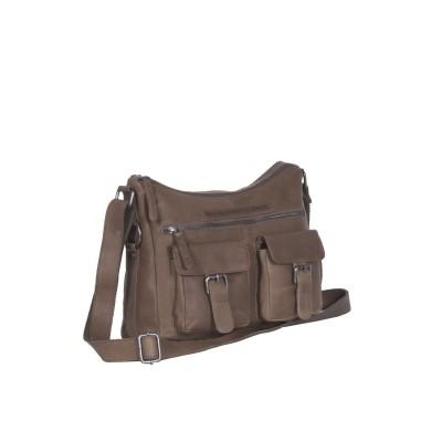 Leather Shoulder Bag Taupe Tessa