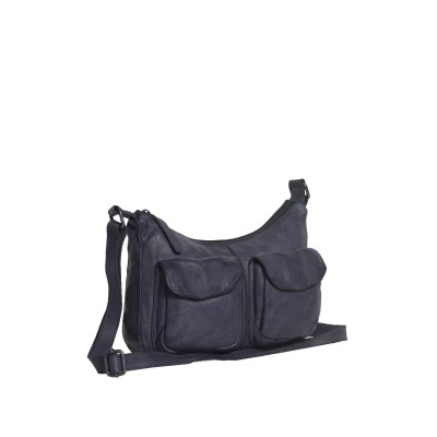 Leather Shoulder Bag Navy Aria