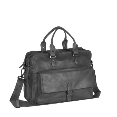 Laptoptasche LederAnthrazit Schwarz Label Johnny