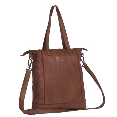 Leather Shopper Bag Cognac Black Label Lyra