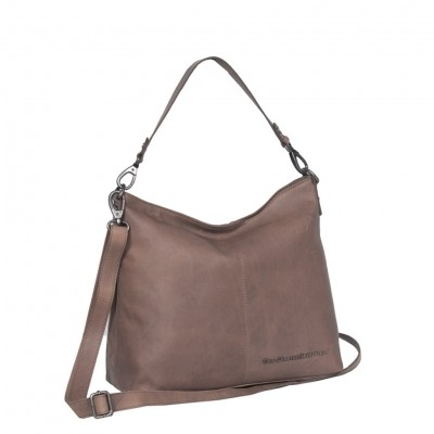 Leather Tote Bag Taupe Victoria