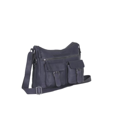 Leather Shoulder Bag Navy Tessa