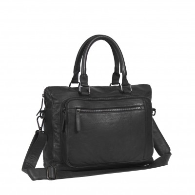 Photo of Leather Laptop Bag Black Label Anthracite Maison