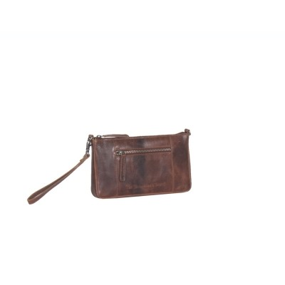 Leder Clutch Medium Cognac Verena