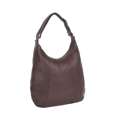 Leather Shoulder Bag Brown Floor