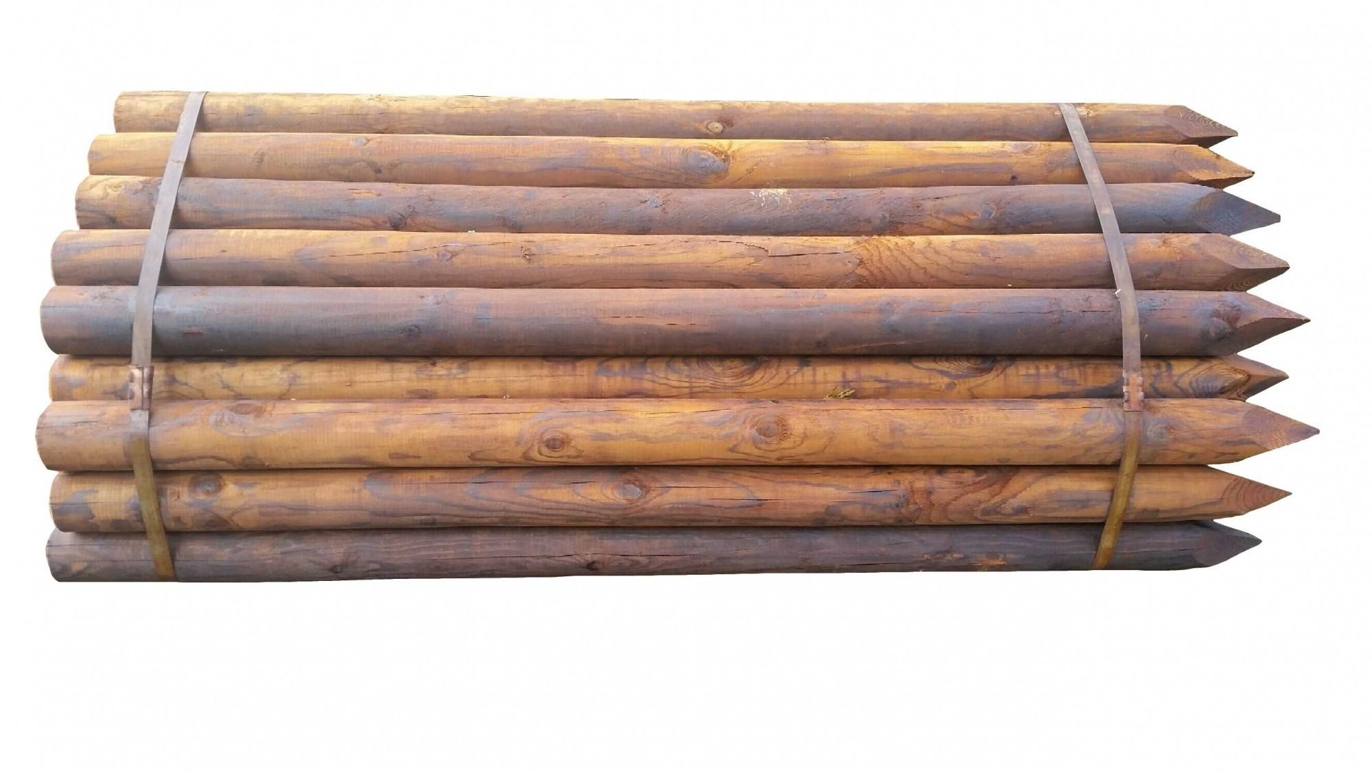 Houten paal Gecreosoteerd 120x6.5cm rondgefreesd