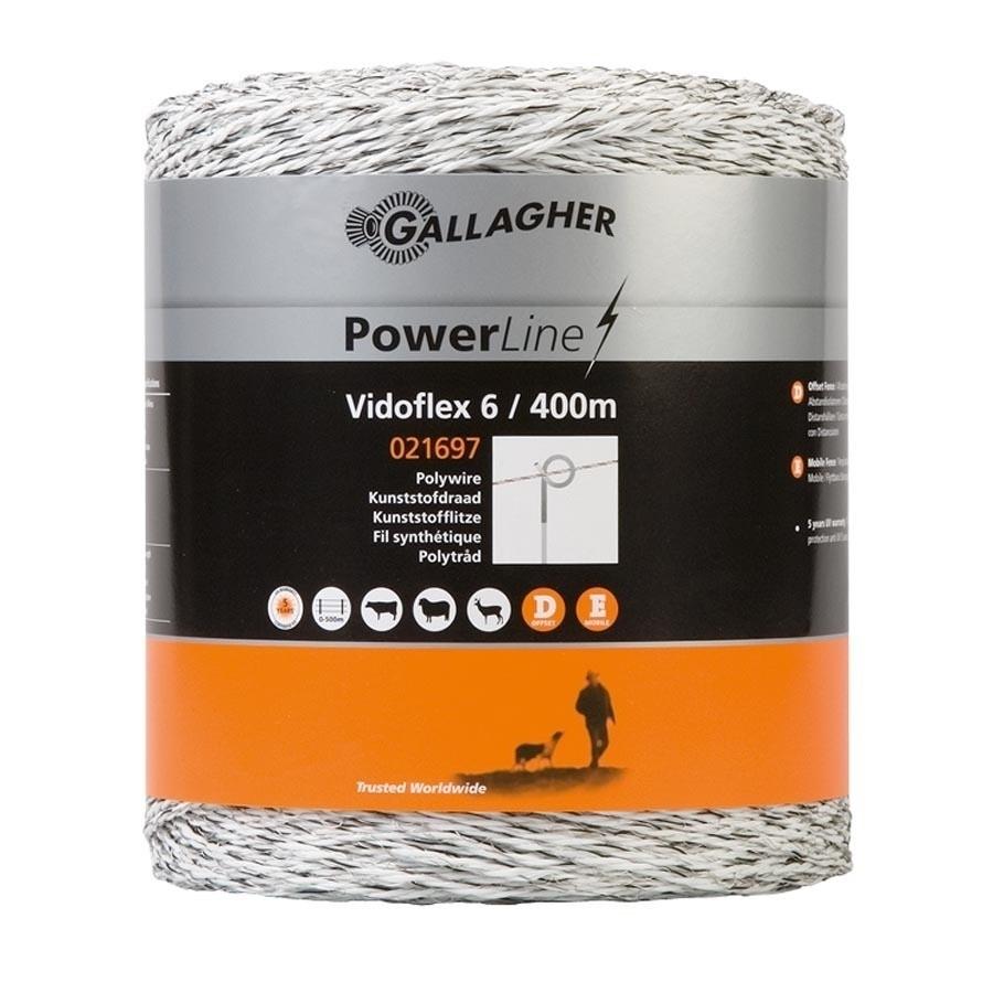 Schrikdraad Gallagher Vidoflex 6 Powerline wit 400mtr