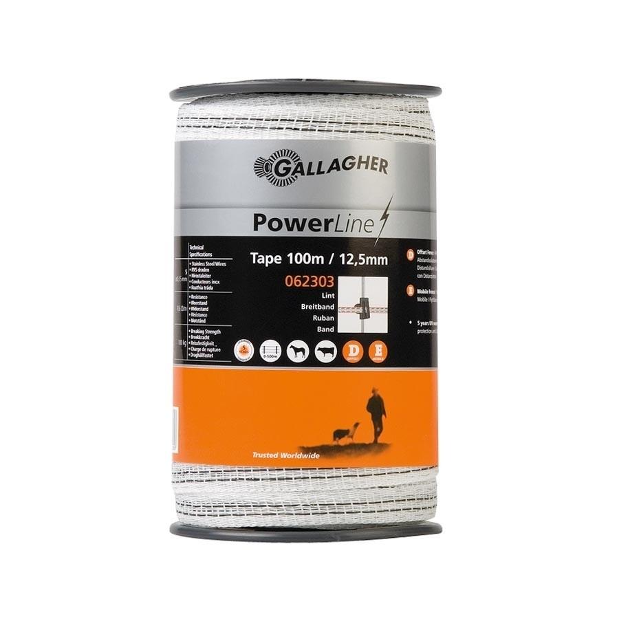 Schriklint Gallagher PowerLine 12,5mm wit 100mtr