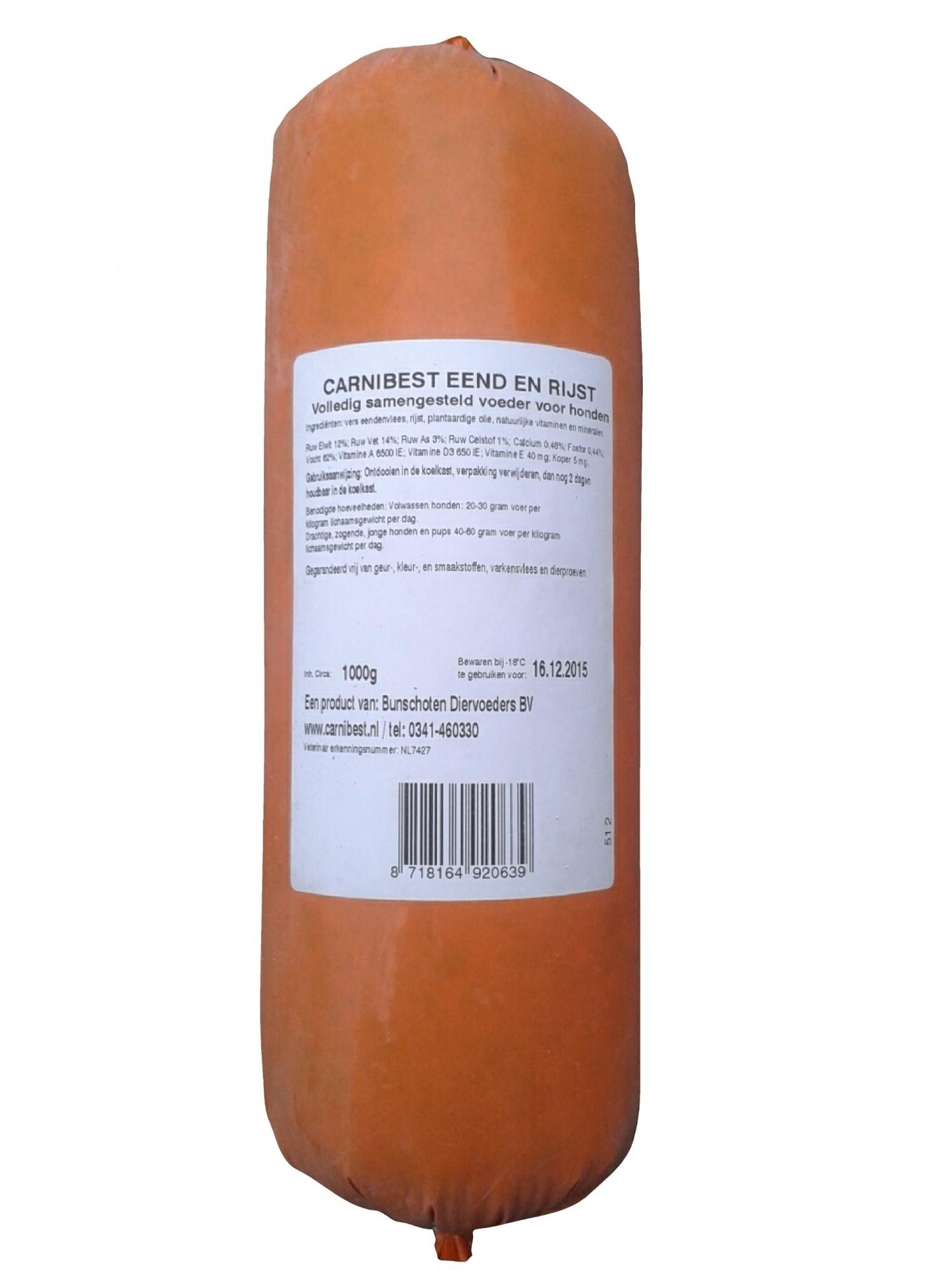 Carnibest vers vlees hond eend/rijst 1kg