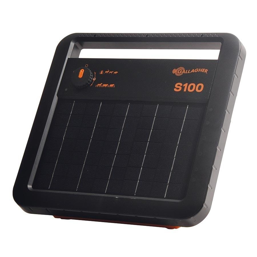 Schrikdraadapparaat Gallagher S100 solar (zonne-energie) inclusief accu.