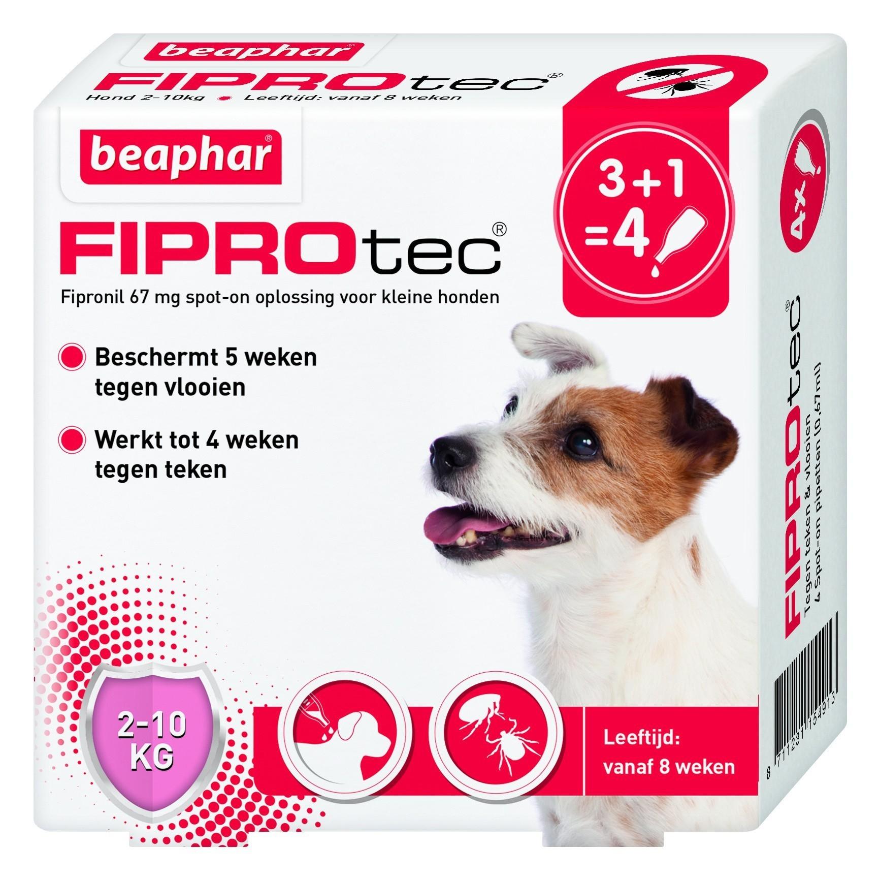 Beaphar Fiprotec hond vlooien/teken 2-10kg 4 pipet