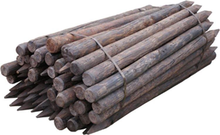 Houten paal rond Gecreosoteerd 140 x 7cm geschild