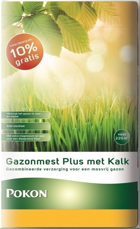Pokon Gazonmest plus Kalk 20+2kg gratis