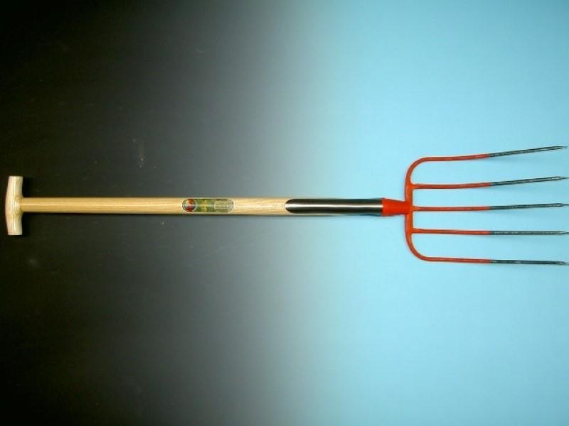 Mestvork Offner rood 5 tands met dubbele veer en essen T-steel 90cm