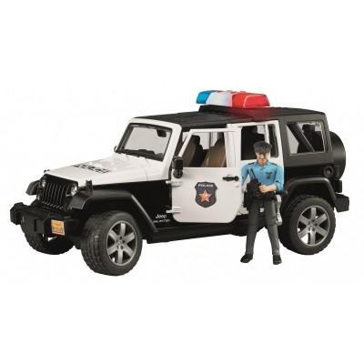 Foto van Bruder Jeep Wrangler politieauto en politieman 1:16