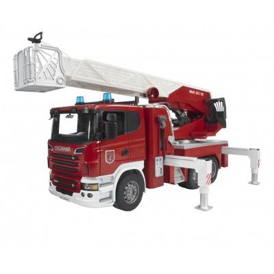 Foto van Bruder Scania R-Series Brandweer ladderwagen met waterpomp 1:16