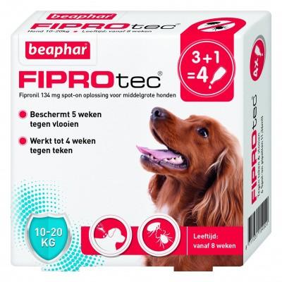 Foto van Beaphar Fiprotec hond vlooien/teken 10-20kg 4 pipet