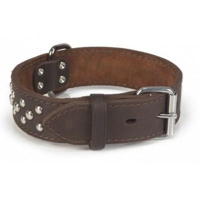 Foto van Leren halsband hond Beeztees Noppy bruin 60X40