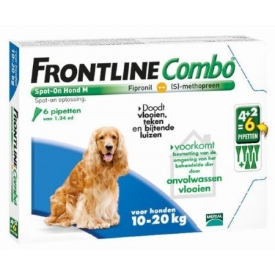 Foto van Frontline Combo spot on Hond Medium 10-20kg 6 pipet