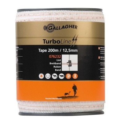 Foto van Schriklint Gallagher Turboline 12.5mm wit 200mtr