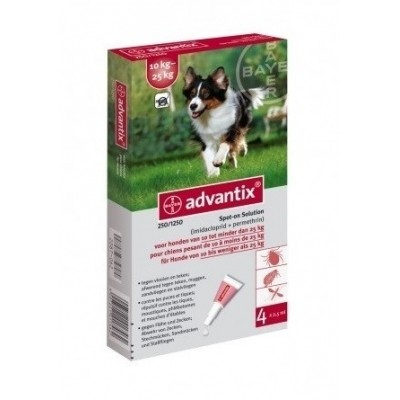 Foto van Bayer Advantix 250 vlooien/teken 4 pipet