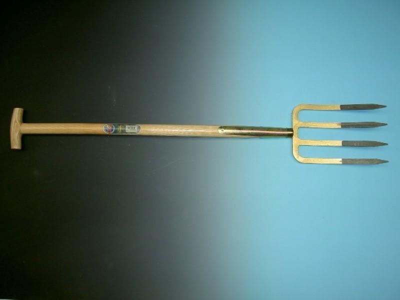 Spitvork Offner brons 4 tands met steel 85cm