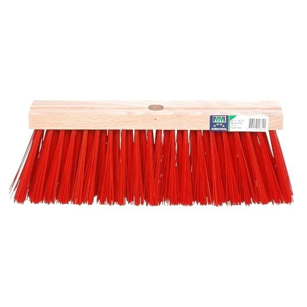 Bezem FSC kunststof rood 41cm